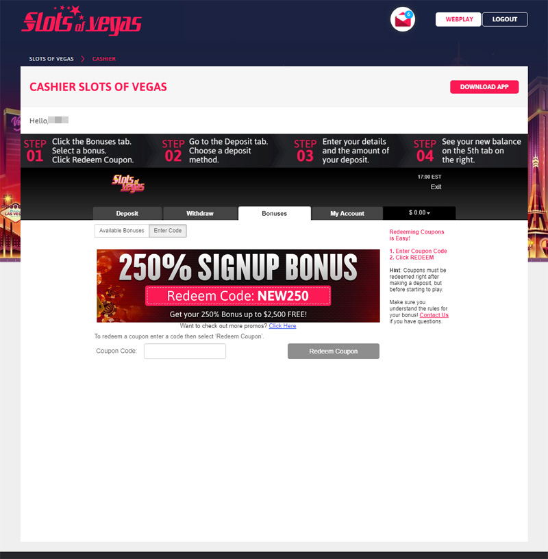 How to how to redeem your bonus coupon code at Slots of Vegas:
